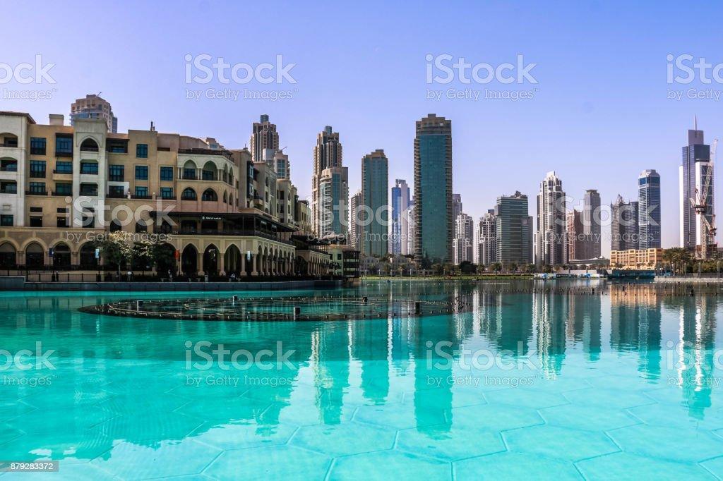 Dubai Skyscrapers view, Dubai, United Arab Emirates stock photo
