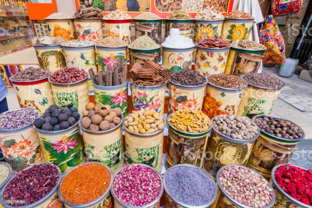 Dubai Souks And Its Colours From Goods Stock Photo