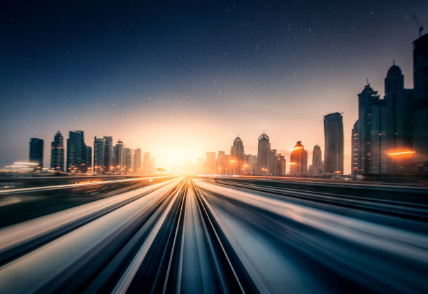 Dubai Speed motion metro train driving, blurred motion bullet train stock pictures, royalty-free photos & images