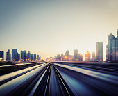 metro train driving, blurred motion