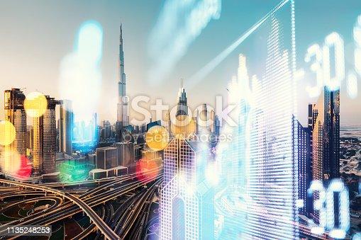 Stock Market Data, Dubai, Chart, Data, Commercial Sign