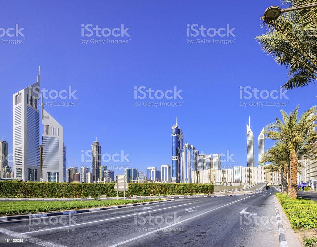 Dubai Street and Skyline stock photo