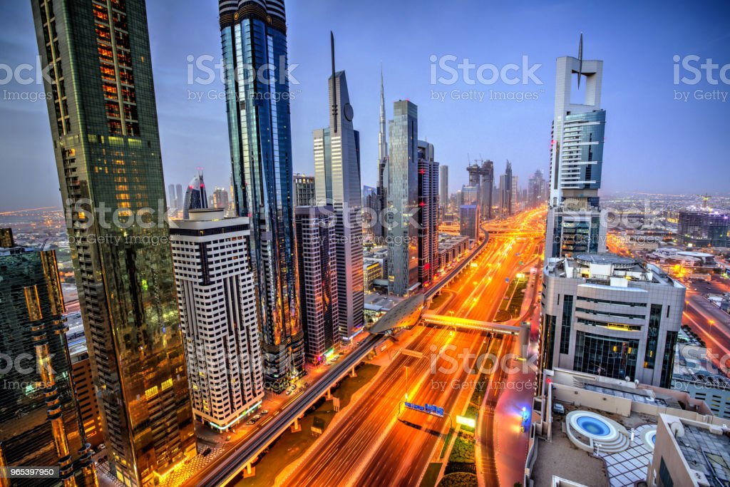 Dubai sunset panoramic view of Burj Khalifa royalty-free stock photo
