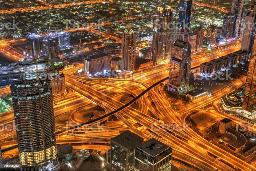 Dubai sunset panoramic view of Sheike Zayed road crossroad zbiór zdjęć royalty-free
