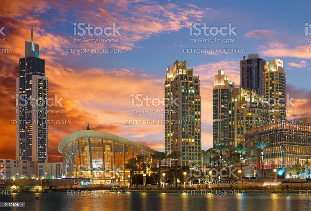 Dubai - The nightly panorama of funtain in front of Burj Khalifa and opera. stock photo
