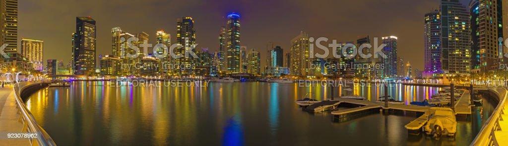Dubai - The nightly panorama of Marina. stock photo
