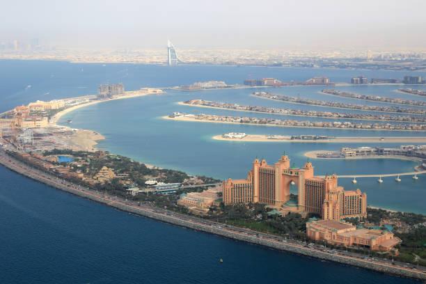 Dubai The Palm Island Atlantis Hotel Burj Al Arab aerial stock photo