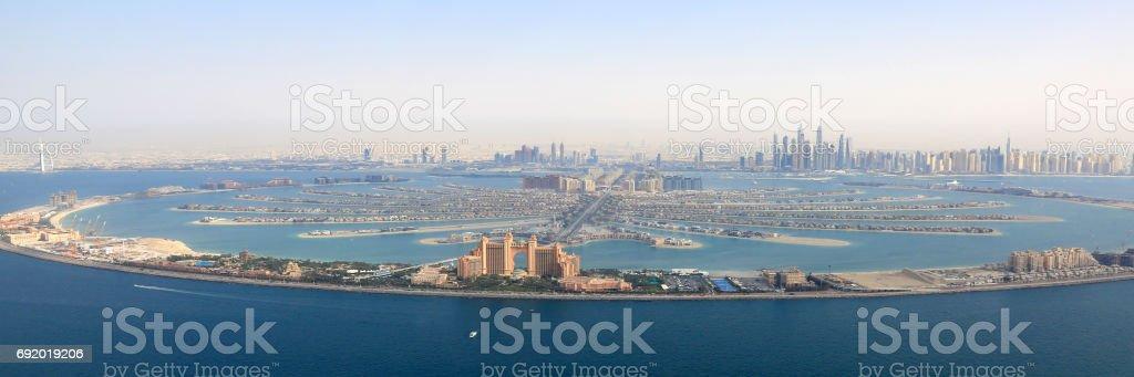 Dubai The Palm Jumeirah Island Atlantis Hotel panorama Marina aerial stock photo