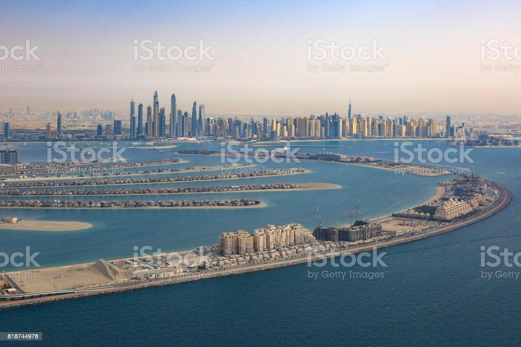 Dubai The Palm Jumeirah Island Marina aerial view photography stock photo