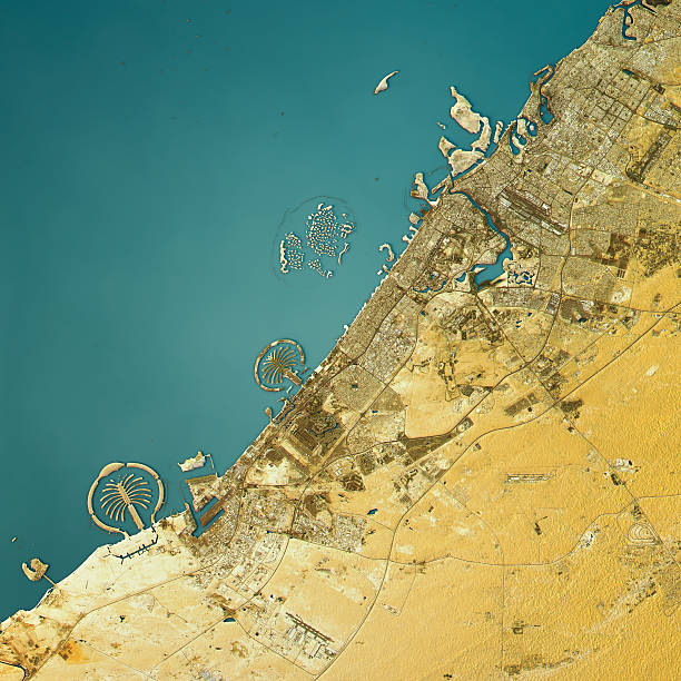dubai topographic map natural color top view - jumeirah stock-fotos und bilder