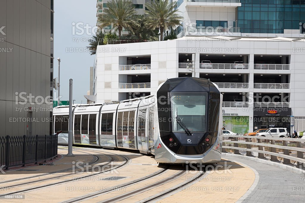 Dubai Tram in Dubai, United Arab Emirates stock photo