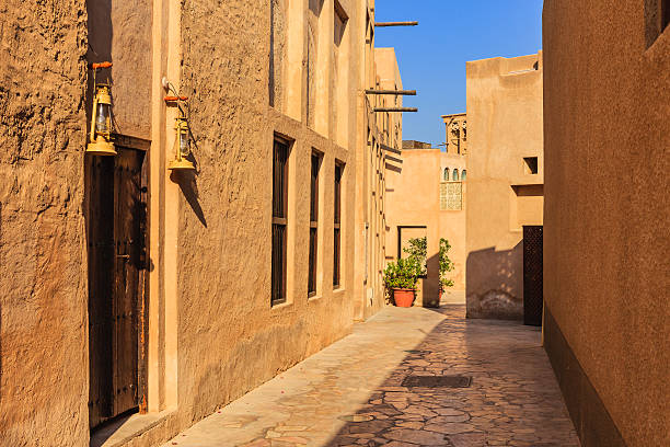 Dubai, UAE: A 19th Century Street And Houses In The Historic Bastakiya Area In Dubai City stock photo