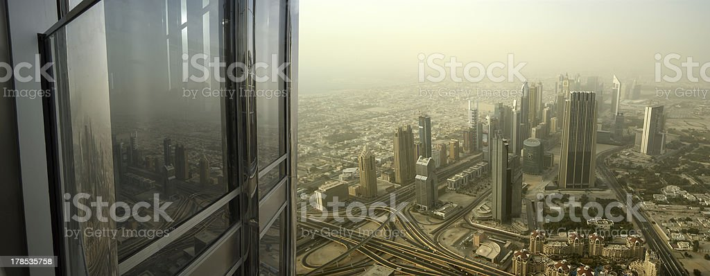 Dubai, UAE. Aerial view from the height of Burj Khalifa royalty-free stock photo