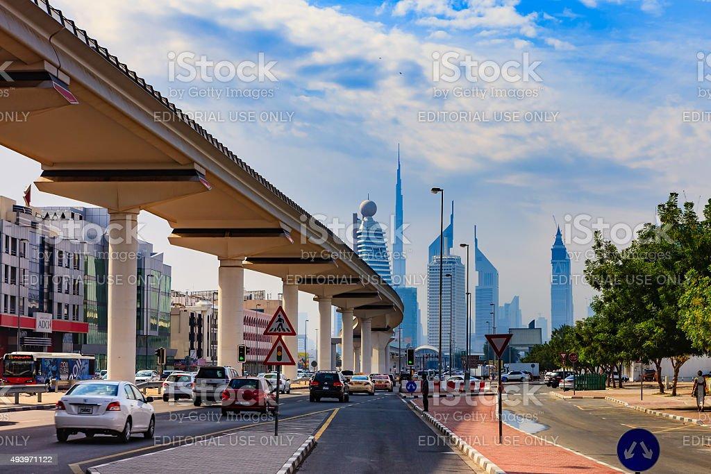 Dubai UAE - Elevated Metro tracks with skyline background stock photo
