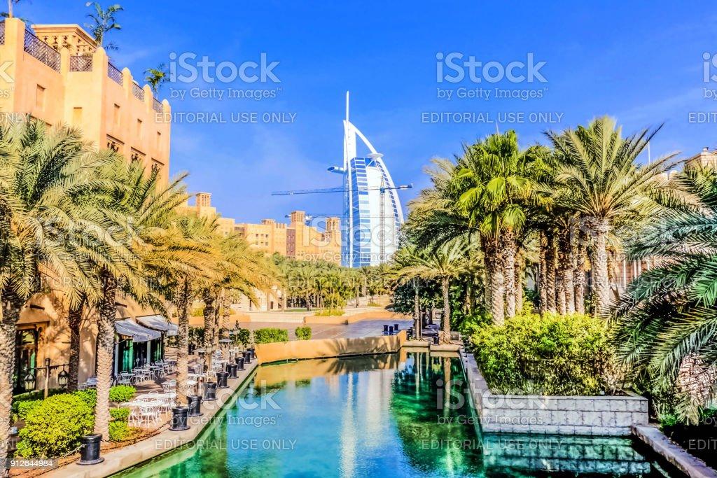 Dubai, United Arab Emirates - 02/10/2018 - Amazing view of Burj Al Arab, Seven Star Hotel, A view from Souk Madinat Jumeirah, Residential and Business Skyscrapers, Dubai, UAE stock photo