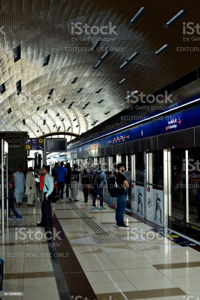 Dubai, United Arab Emirates - February 11, 2017, Dubai Metro stock photo