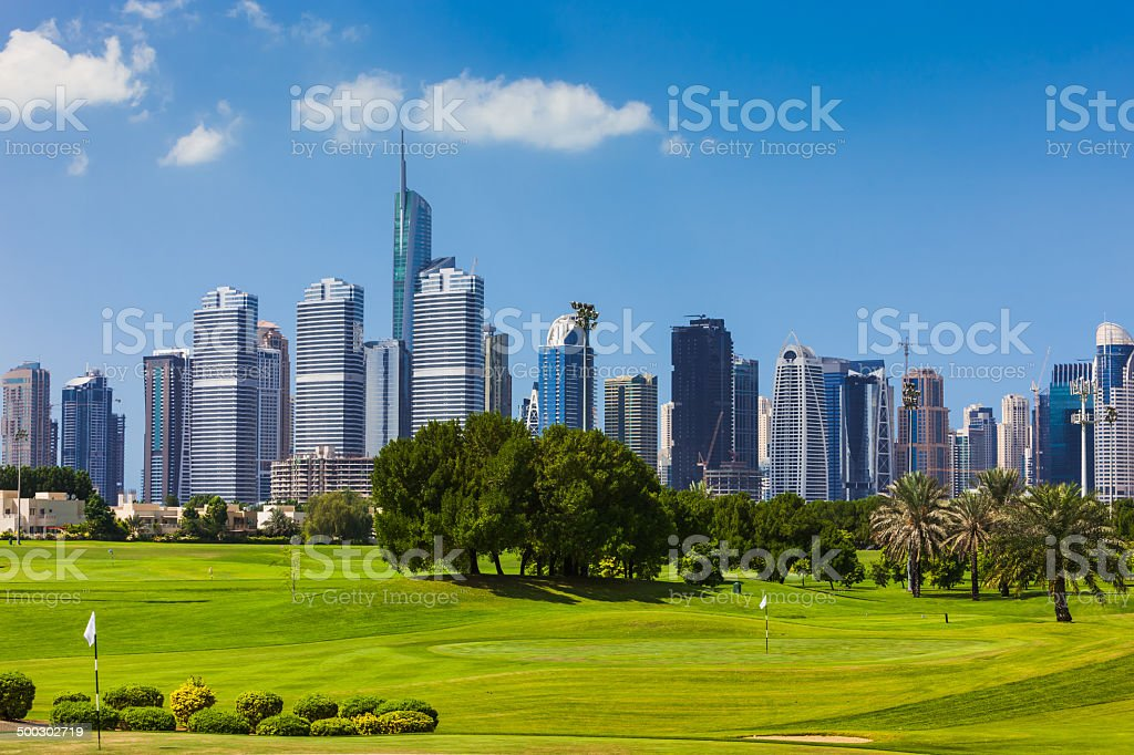 Dubai, United Arab Emirates - Golf and Skyscrapers royalty-free stock photo