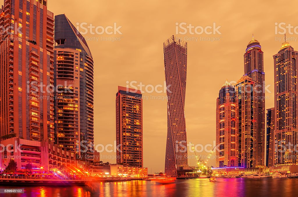 Dubai, United Arab Emirates: Marina in the sunset stock photo