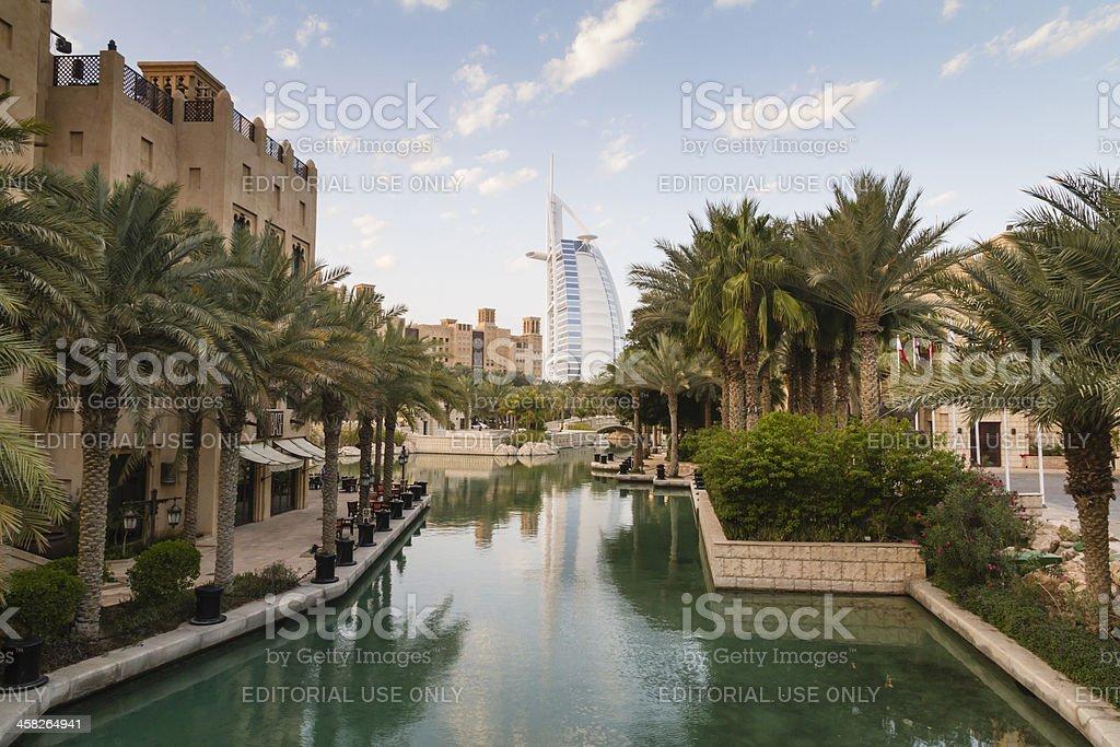 Dubai - view of Burj Al Arab from Madinat Souk royalty-free stock photo