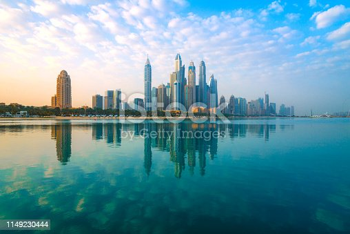 Dubai - View to the skyscrapers of the district Marina