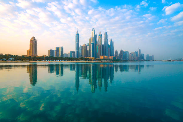 Dubai - View to the skyscrapers of the district Marina stock photo