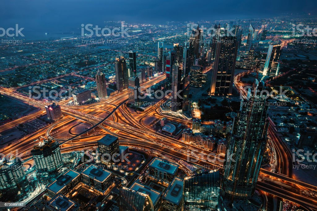 Dubai viewed from Burj Khalifa stock photo