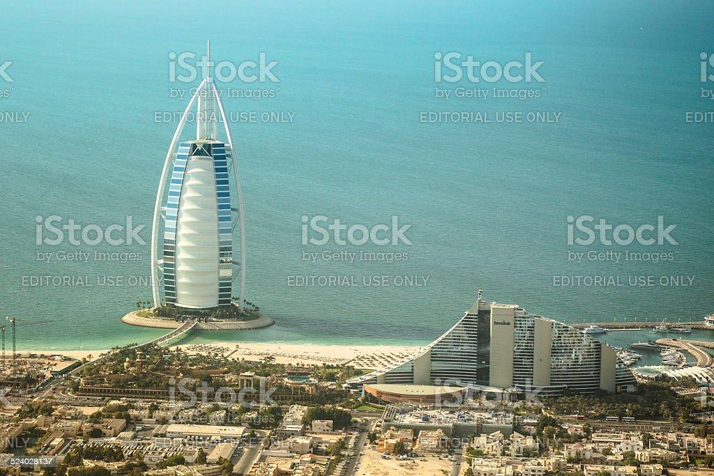 Aerial view of the Dubai landmark with the 7 stars luxury hotel Burj...