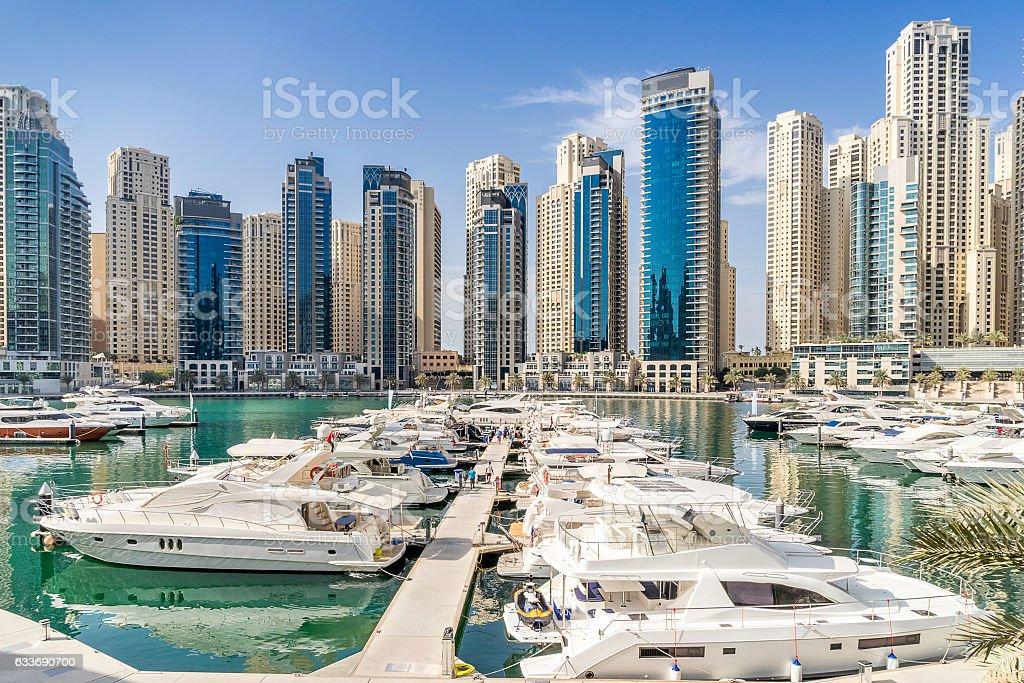 Dubai yacht marina stock photo
