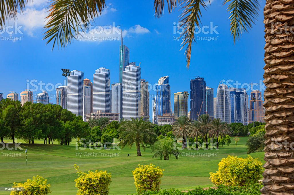 Dubai's changing Skyline - Golf foreground royalty-free stock photo