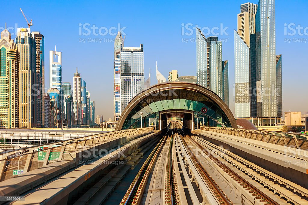 Dubai's Metro with skyscrapers stock photo