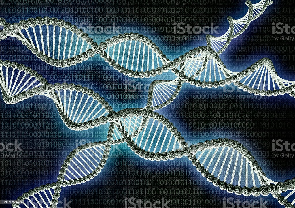 dubble helix dna made out of binary code stock photo