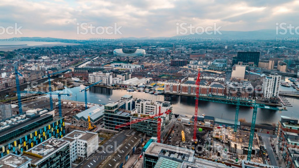 Dublin aerial view of city with river Liffey and stadium stock photo