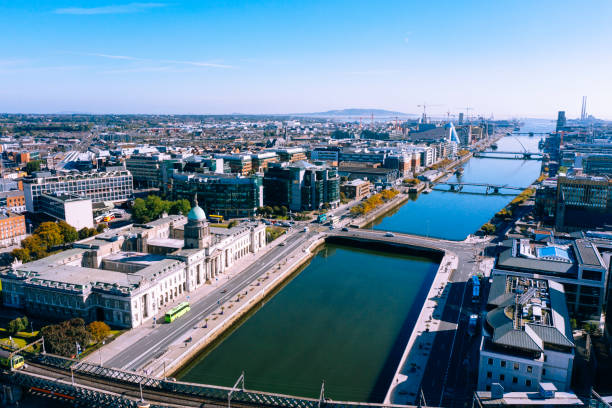 Dublin aerial view with Liffey river and Custom House stock photo