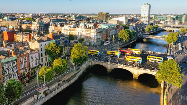 Dublin aerial view with Liffey river and O'Connell bridge during sunset stock photo