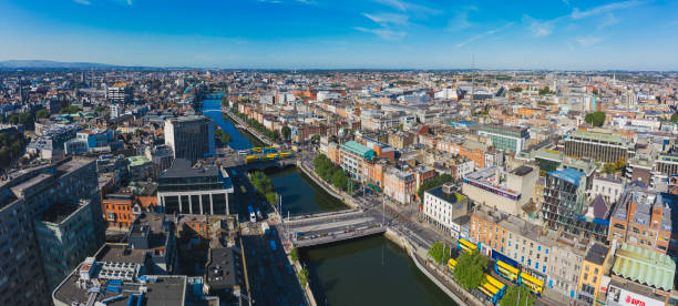 Dublin aerial view with Liffey river and O'Connell bridge stock photo
