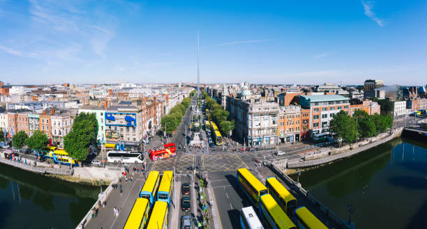 Dublin aerial view with Liffey river and O'Connell bridge