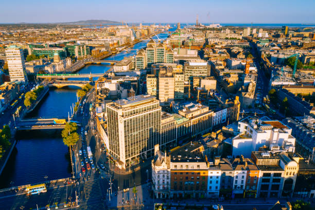 Dublin aerial view with Liffey river stock photo