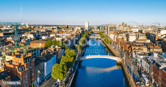 istock Dublin aerial with Ha'penny bridge and Liffey river during sunset in Dublin, Ireland 1279966784