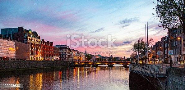 Dublin City centre at night along the river Liffey on the quays, Dublin, Ireland.
