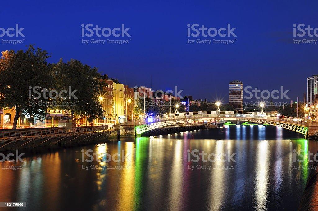 dublin at night royalty-free stock photo