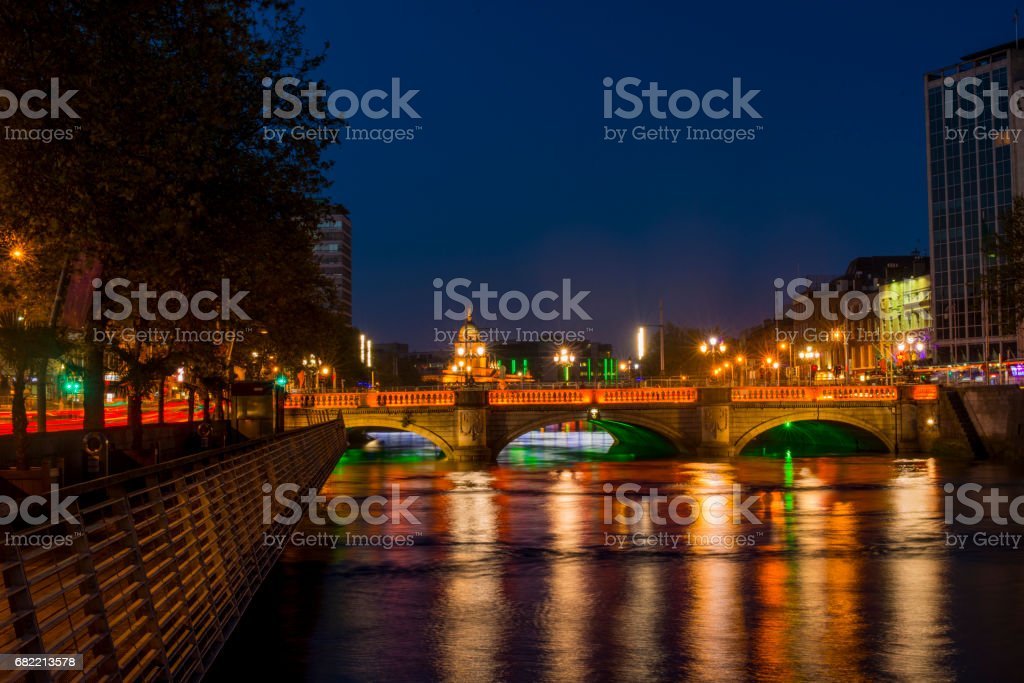 Dublin city centre at night stock photo