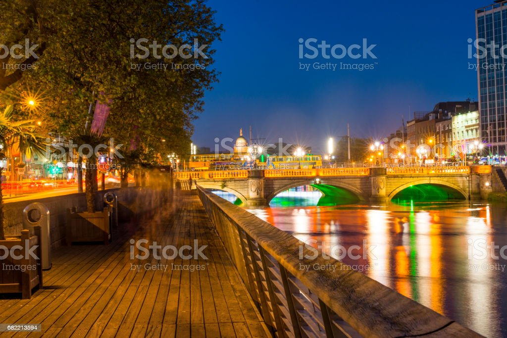 Dublin City Centre At Night Stock Photo More Pictures Of Capital