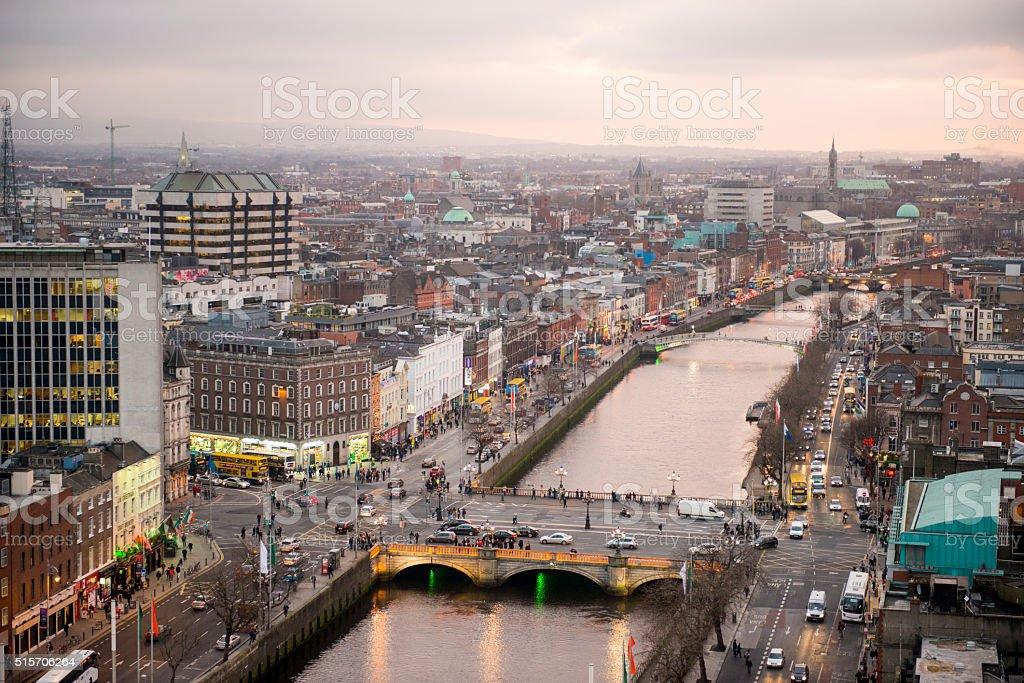 Dublin city centre at sunset royalty-free stock photo