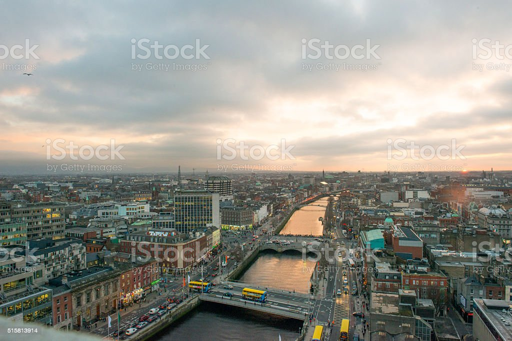 Dublin city centre at sunset royalty-free stock photo