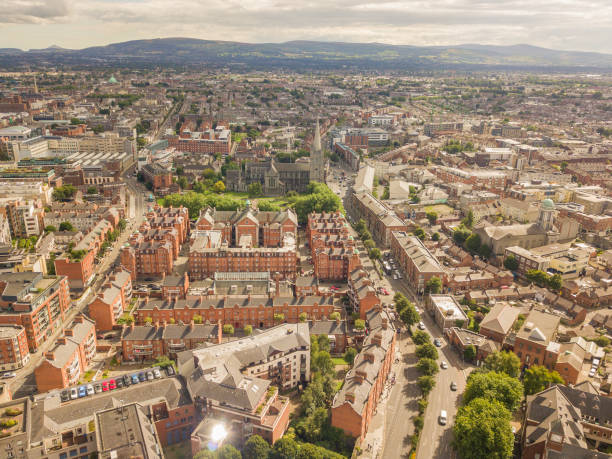 Dublin city centre from above stock photo