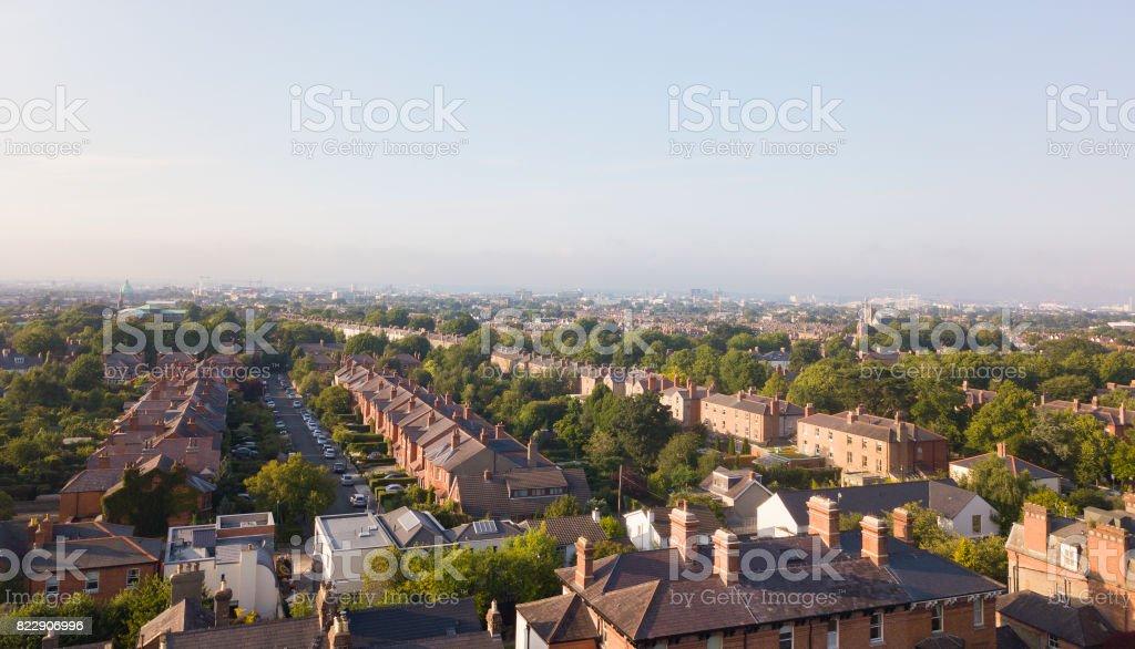Dublin city from above stock photo