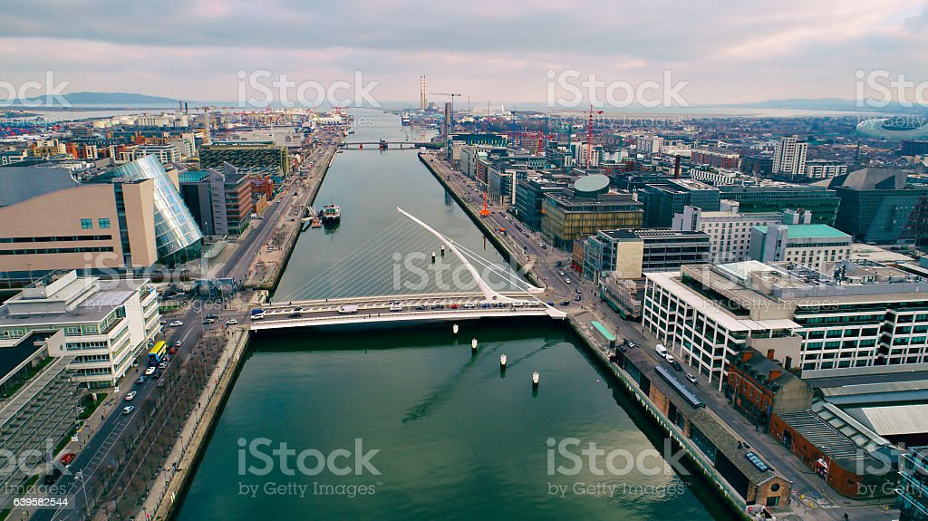 Dublin docks and new development area aerial view stock photo
