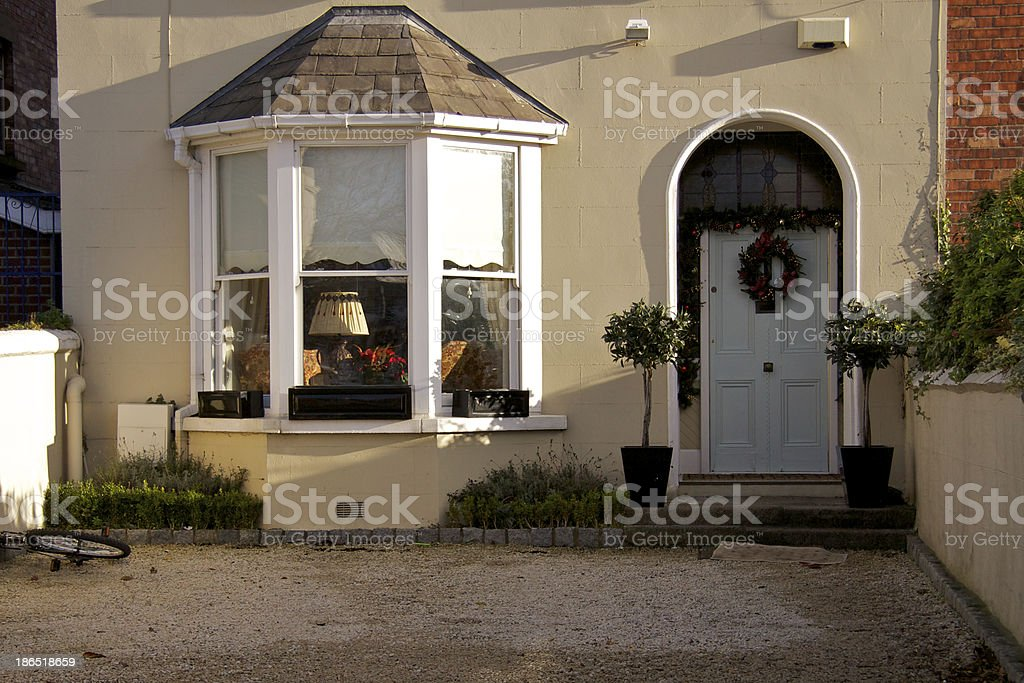 Dublin doors at Christmas; window with corners stock photo