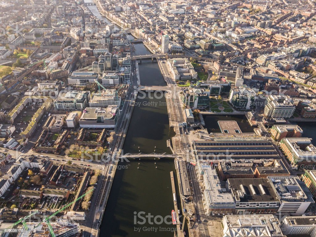 Dublin from above stock photo
