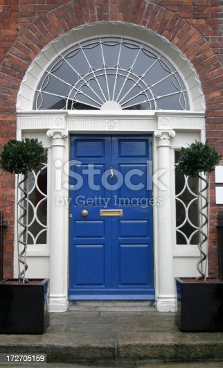 Blue Georgian Door and Entrance in the famous Merrion Square, Georgian Heritage District of Dublin, Ireland
